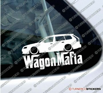 LOW Saab 9-3 estate ' WAGON MAFIA ' Lowered car sticker , Decal